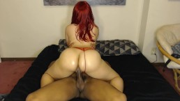 Bubble booty chick ride's dick w/ sexy red panties on!