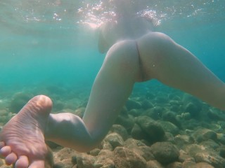 Ginger Girl with Big Natural Tits and Perfect Body Swimming Naked in Sea