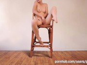 Hot Girl masturbation on the Chair with quivering Orgasm