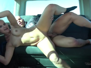 handcuffed short hair blonde creampied and kicked out of car