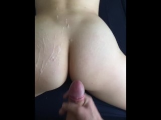 Bubble butt gets sprayed with my cum