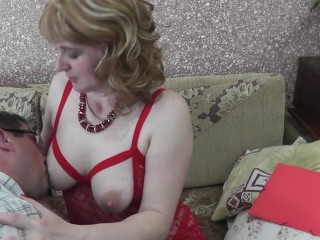Stimulation erogenous zone boobs nipples ear labia clit. Man excited mom
