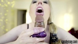 Candy May - TONGUE JOB & HANDJOB ON HUGE BBC