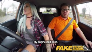 Fake Driving School Busty goth learner in anal and sex toys lesson finale Russian fucking