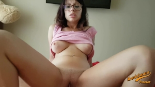 Horny a dick big her nerd girl inside loves pussy wet point view