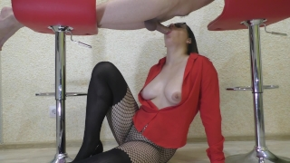 Amateur Blowjob : Glory table improvisation  amateur glory hole big boobs amateur blowjob glory table throbbing cock teacher of magic glasses milking table red bra homemade glory table blowjob gloryhole