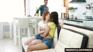 Preview 1 of Sexy Young Babes Emily Red and Mia Kiss Are Fucked by a Lucky Cock