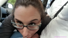 First public blowjob! Teasing roadhead intense oral creampie