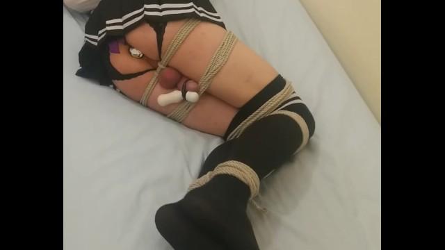 Cross dresser tied up