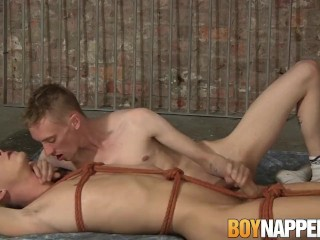 Roped down twinky played with and blown by his master