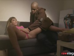 Pussylicked glam beauty riding black cock