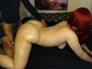 Sexy red head gets smashed doggy style by guy in a shirt!