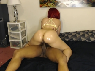 Sexy red head loves bouncing bubble butt on BBC in yellow bra!