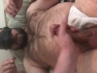 Bear dad gets blindfolded and teased till he blows