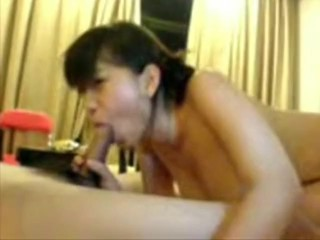 Amateur video of a babe servicing her man's dick
