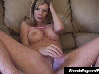Hot Housewife Shanda Fay Fucks Dildo In Fishnet BodyStocking