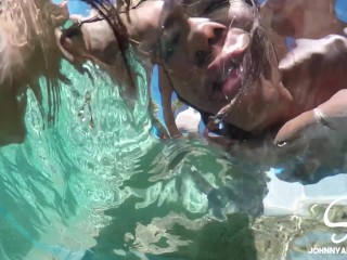 SinsLife - Interracial Girls Take Turns Fucking Huge Dick in the Pool!