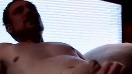 Bearded American squeezes the cum out of those swollen balls