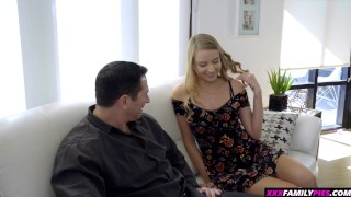 Horny step daughter tricks her blindfolded daddy to fuck and creampie her Trimmed cowgirl