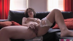 Curly brunette amateur Rosie licks her hairy armpits and fingers her bush