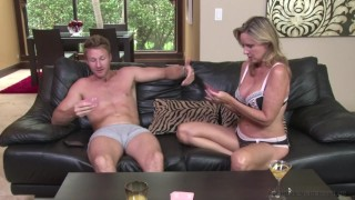 Jodi West fuck stepson Levi Cash after losing bet during Family Game Night! Tits footjob