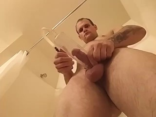 pissing in cock pump