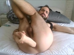 Gaping my hole and playing with my big dildo