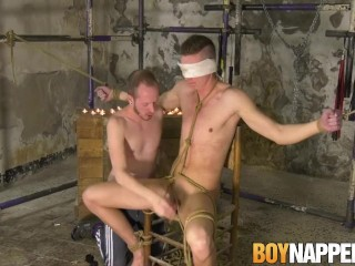 Blindfolded submissive mercilessly dick sucked until he cums