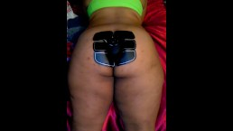 Electric ab exerciser on sugar momma's ass