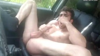 Young French twink car JO - Thony Grey Home cumshot