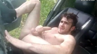 Young French twink car JO - Thony Grey Cum pierced