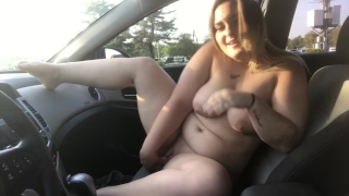 CAUGHT RIDING MY DILDO ON DASHBOARD PUBLIC VIDEO XX Masturbating adult