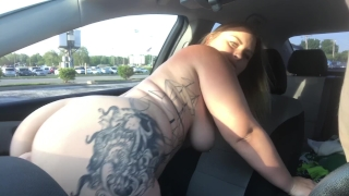 CAUGHT RIDING MY DILDO ON DASHBOARD PUBLIC VIDEO XX Brunette boobs