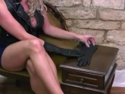 Kinky babes Harley and Elle love to rub soft leather gloves on big boobs