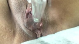 Toying my pierced pussy in public