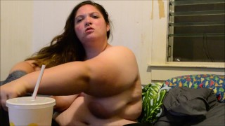 Bbw Yoshiko Hungry Horny, playing with myself and eating at the same time  butt slut big boobs gaining stuffing bbw chubby sexy asian fat playing eating