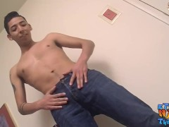 Long cut cock jerked off hard by solo young cutie
