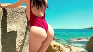 Jolie Fille française baise avec son copain sur la Plage - 4k Blowjob butt