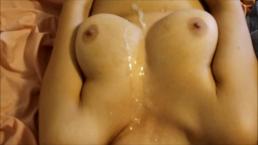 Shy Asian gets Huge Load on Big Natural Tits after her Orgasm