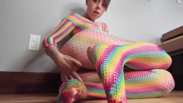 Rainbow fishnet fingering