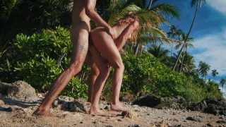 Quickie in Paradise! It was way too hot to fuck! - Amateur Couple LeoLulu Boobs butt