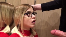 in the fitting room. She loves sucking hard dick Pov amazing blowjob