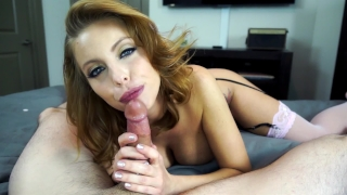 Ball redhead gives slutty draining big tits blowjob with tits big