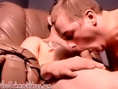 Huge cock young man jerks off with two craving dudes