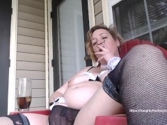 Naughty Maid enjoys smoke break