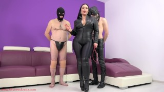 Cuckold pig gets a cumshot facial from My slave  two slaves cum eating slave ruined orgasms female supremacy corporal punishment best handjob cuckold humiliation femdom leather handjob kink whipping cum eating mistress ezada sinn polyandrya