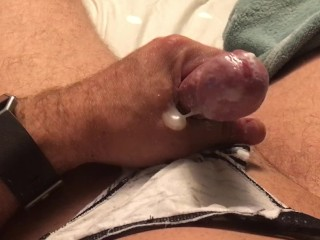 Jerking off and cumming on my wife's panties!