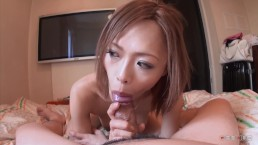 Blonde japanese student suck small cock wild till cum in her mouth