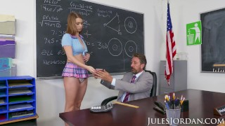 Jules Jordan - Jill Kassidy Naughty School Girl Gets The D In Detention Casting hardcore