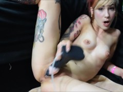 petite white girl stretches her pussy with a horse cock